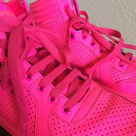 0cd5e9e55a42 Gucci Shoes - Gucci Neon Pink HighTop Sneakers